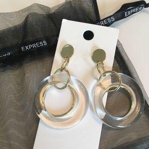 Express mixed material drop earrings